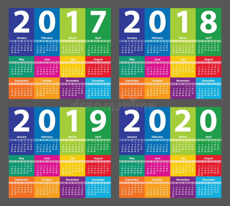 Calendario 2017 del color a partir de domingo ilustración del vector