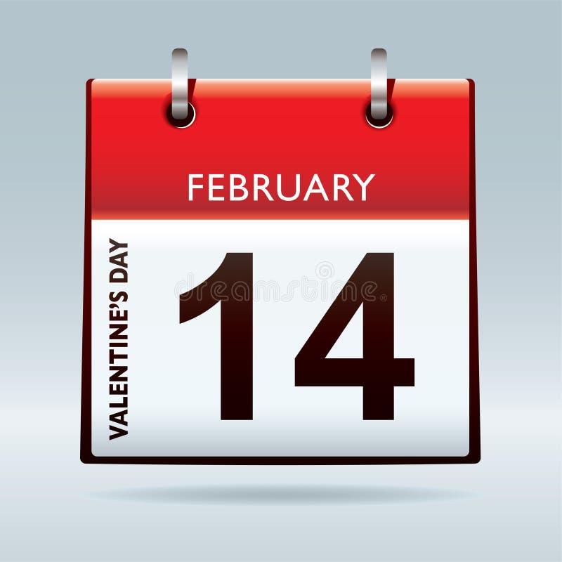 Calendario del día de tarjetas del día de San Valentín stock de ilustración