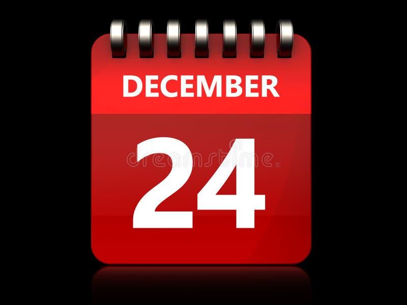 calendario del 24 dicembre 3d illustrazione vettoriale
