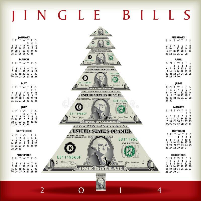 calendario 2014 del dinero ilustración del vector