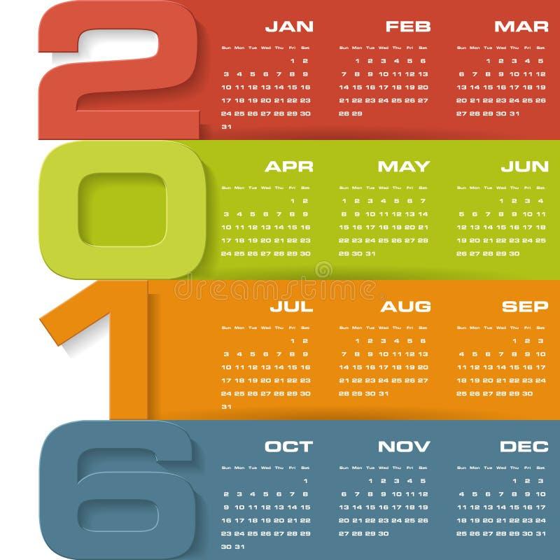 Calendario del diseño simple plantilla del diseño del vector de 2016 años stock de ilustración