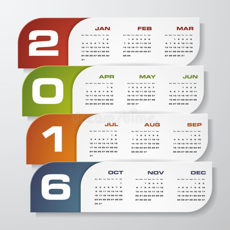 Calendario del diseño simple plantilla del diseño del vector de 2016 años libre illustration