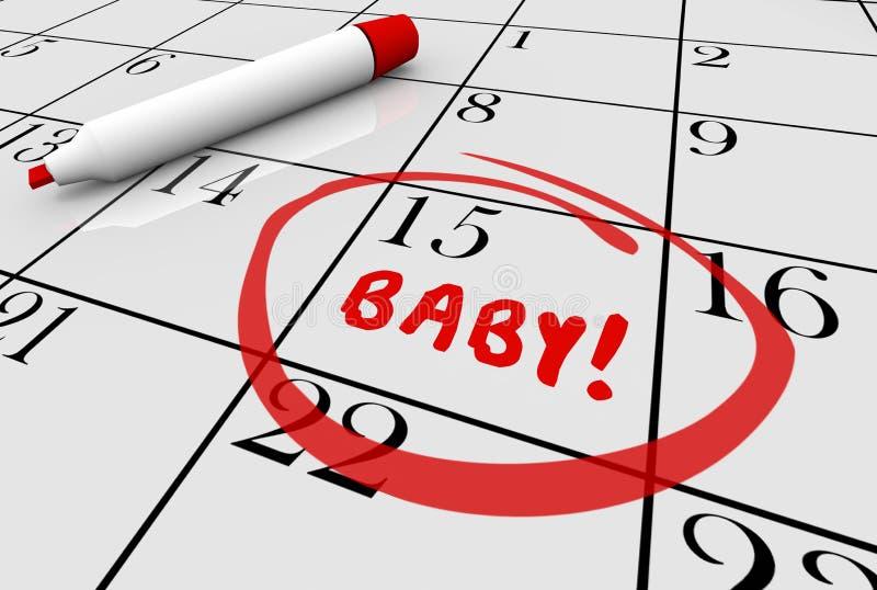Calendario del embarazo de la entrega de la fecha debida del bebé ilustración del vector