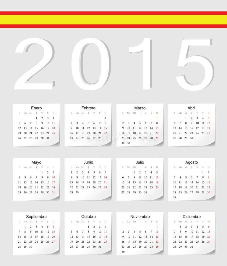 Calendario del español 2015 ilustración del vector