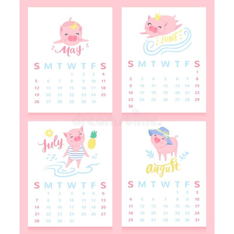 Calendario Maggio Giugno Luglio 2019.Calendario Maggio Giugno Luglio E Agosto Illustrazione