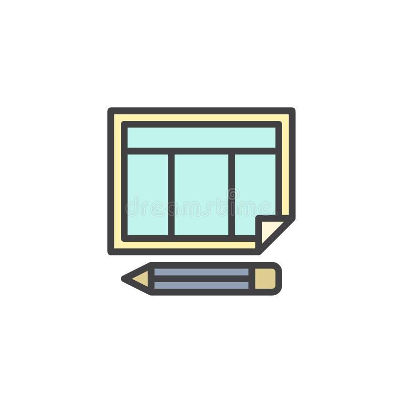 Calendario del horario e icono llenado lápiz del esquema ilustración del vector