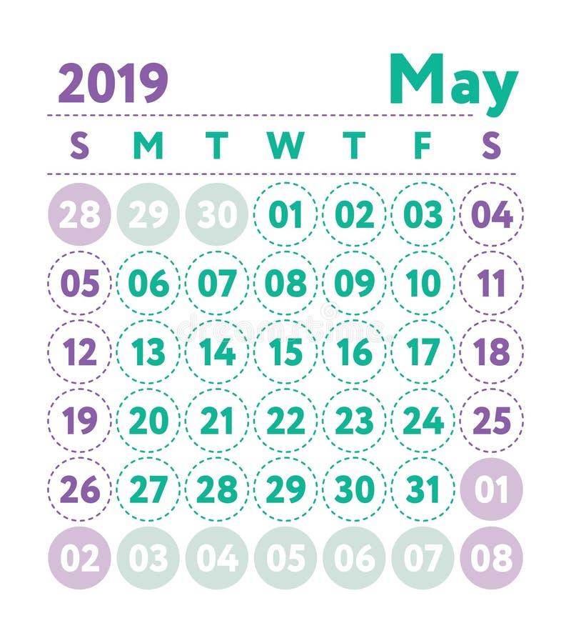 Calendario 2019 Calendario del inglés del vector Mes de mayo La semana comienza o ilustración del vector