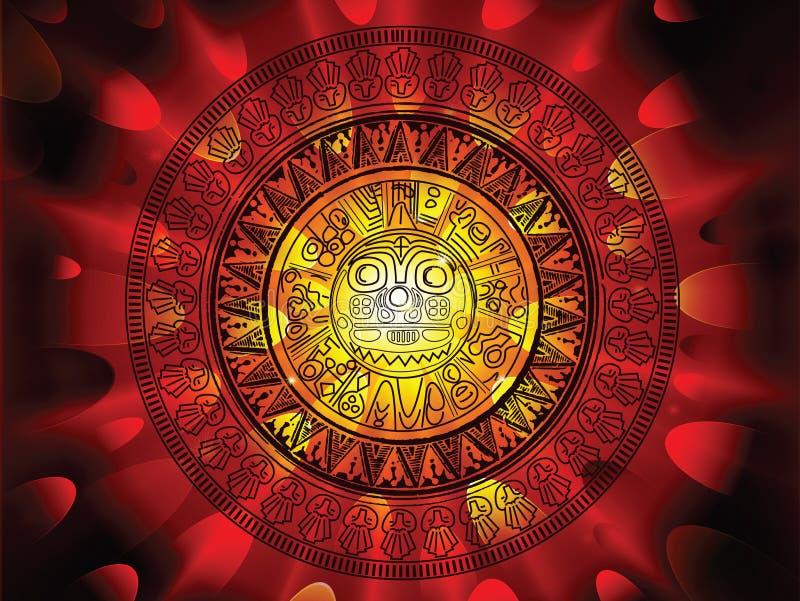 Calendario del Maya su un'estremità della priorità bassa di giorni royalty illustrazione gratis