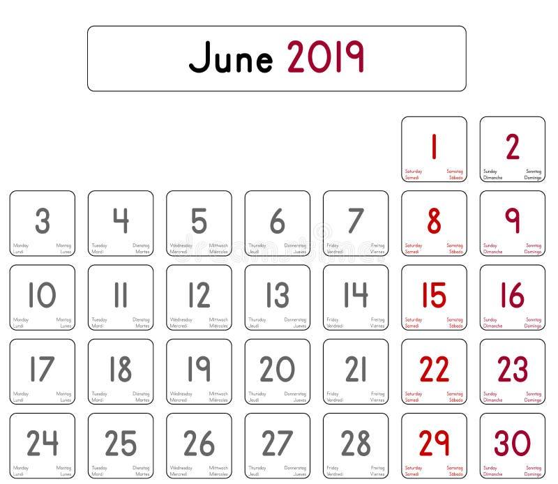 Calendario Mese Giugno.2019 Calendario Mese Di Giugno Illustrazione Di Stock