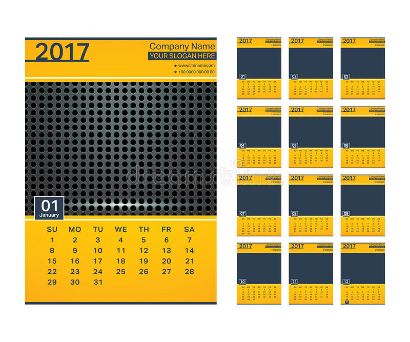 calendario 2017 del modello royalty illustrazione gratis