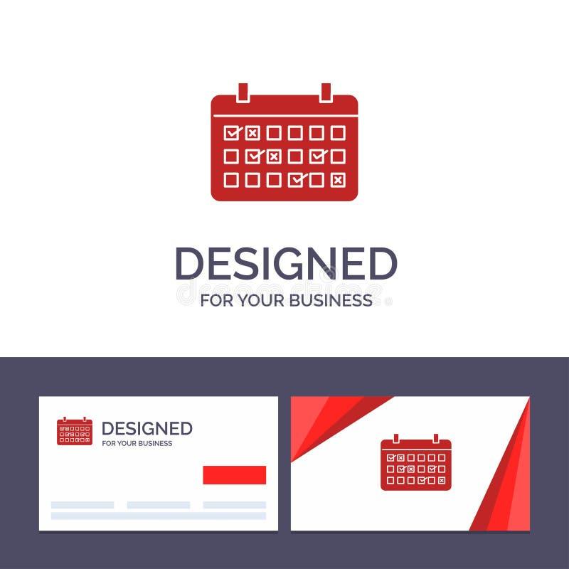 Calendario del modello creativo di logo e del biglietto da visita, data, mese, anno, illustrazione di vettore di tempo illustrazione vettoriale