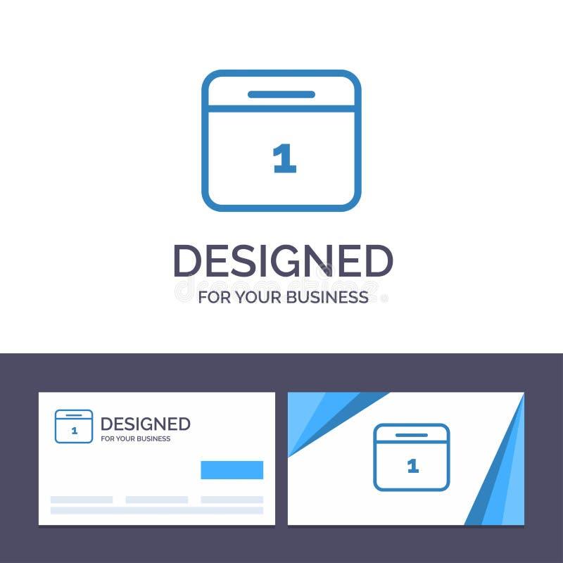 Calendario del modello creativo di logo e del biglietto da visita, data, mese, illustrazione di vettore di giorno illustrazione vettoriale