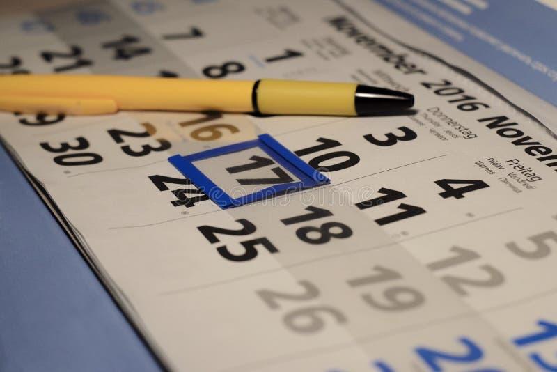 Calendario del negocio fotografía de archivo