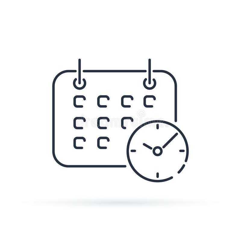 Calendario del negocio con el icono del reloj Línea de moda símbolo de Shedule del estilo aislado en fondo ilustración del vector