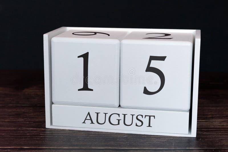 Calendario del negocio para agosto, décimo quinto día del mes Fecha del organizador del planificador o concepto del horario de lo fotografía de archivo libre de regalías