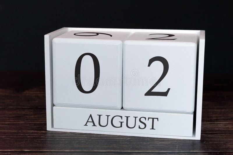 Calendario del negocio para agosto, 2do día del mes Fecha del organizador del planificador o concepto del horario de los aconteci imagen de archivo libre de regalías
