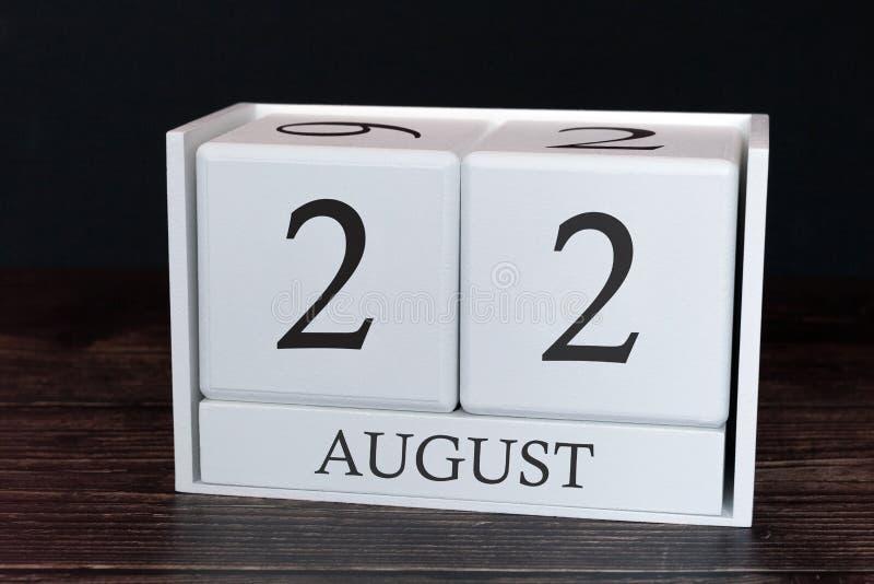 Calendario del negocio para agosto, 22do día del mes Fecha del organizador del planificador o concepto del horario de los acontec imagen de archivo libre de regalías