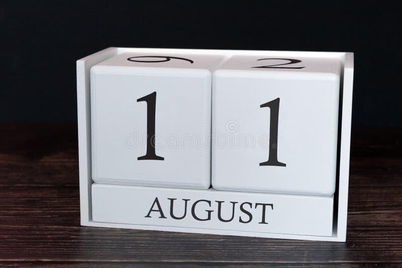 Calendario del negocio para agosto, 11mo día del mes Fecha del organizador del planificador o concepto del horario de los acontec fotos de archivo libres de regalías