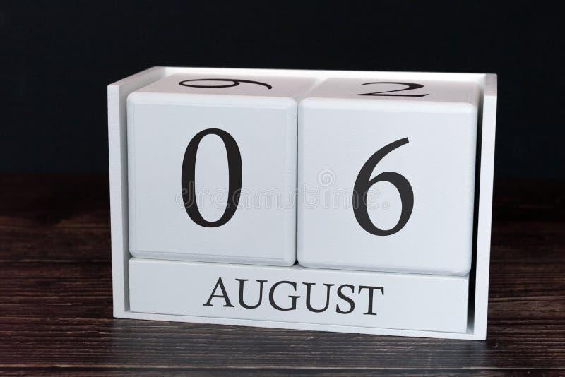Calendario del negocio para agosto, 6to día del mes Fecha del organizador del planificador o concepto del horario de los aconteci imagen de archivo libre de regalías