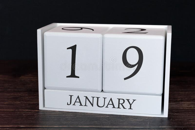 Calendario del negocio para enero, diecinueveavo día del mes Fecha del organizador del planificador o concepto del horario de lo fotografía de archivo