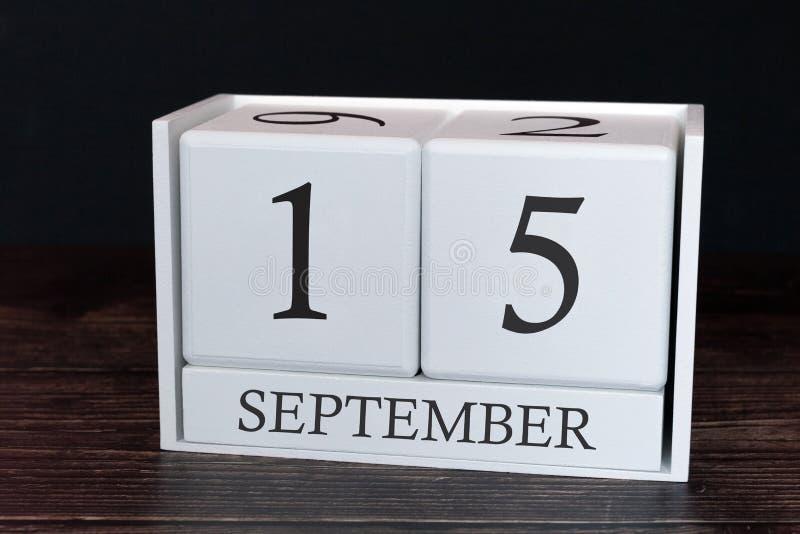 Calendario del negocio para septiembre, décimo quinto día del mes Fecha del organizador del planificador o concepto del horario d imagen de archivo libre de regalías