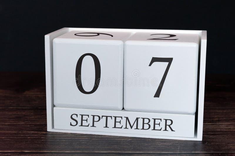 Calendario del negocio para septiembre, 7mo día del mes Fecha del organizador del planificador o concepto del horario de los acon fotos de archivo libres de regalías