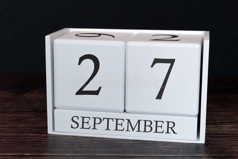 Calendario del negocio para septiembre, 27mo día del mes Fecha del organizador del planificador o concepto del horario de los aco imágenes de archivo libres de regalías