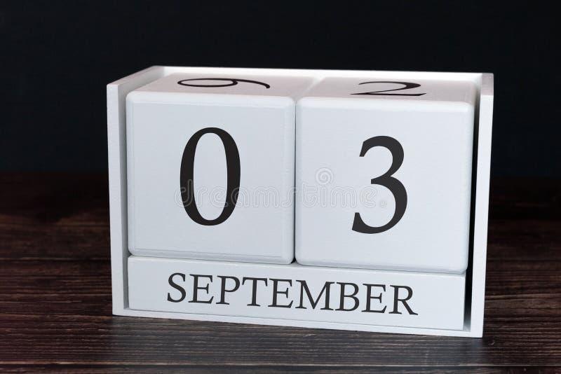 Calendario del negocio para septiembre, 3ro día del mes Fecha del organizador del planificador o concepto del horario de los acon imagen de archivo libre de regalías