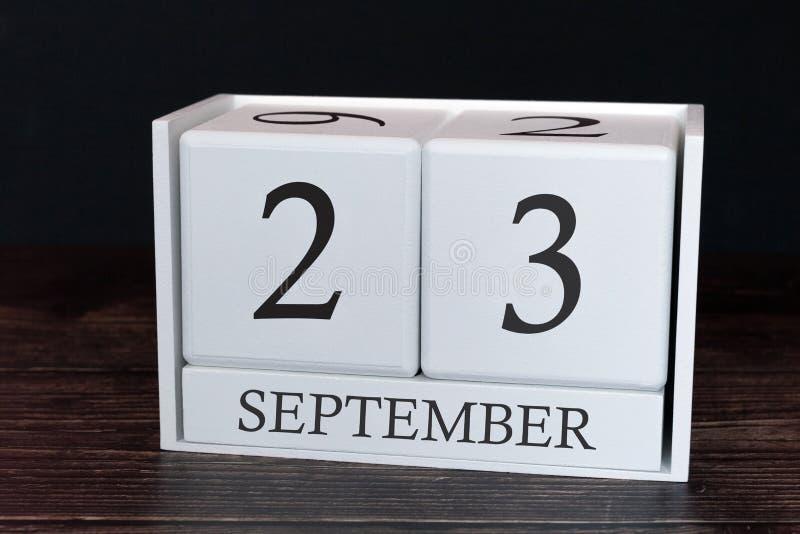 Calendario del negocio para septiembre, 23ro día del mes Fecha del organizador del planificador o concepto del horario de los aco fotografía de archivo
