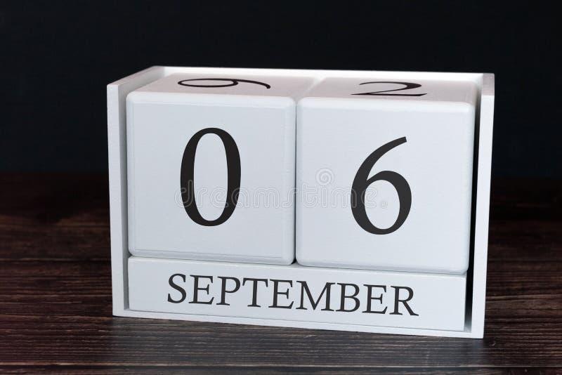 Calendario del negocio para septiembre, 6to día del mes Fecha del organizador del planificador o concepto del horario de los acon fotografía de archivo libre de regalías