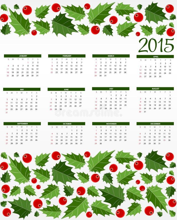 Calendario 2015 del nuovo anno Illustrazione di vettore illustrazione di stock
