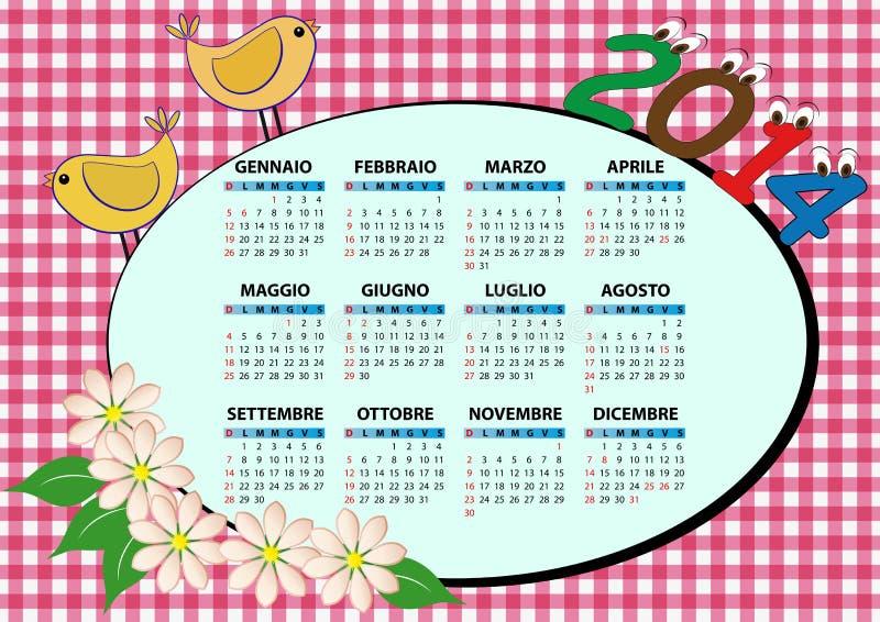 calendario 2014 del pájaro stock de ilustración