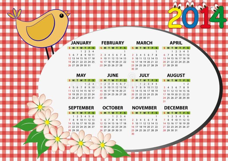 calendario 2014 del pájaro ilustración del vector