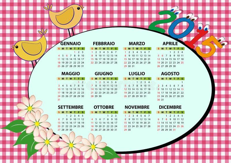 calendario 2015 del pájaro libre illustration