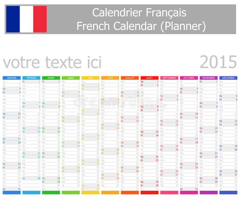 Calendario del pianificatore di 2015 francesi con i mesi for Pianificatore di blueprint gratuito