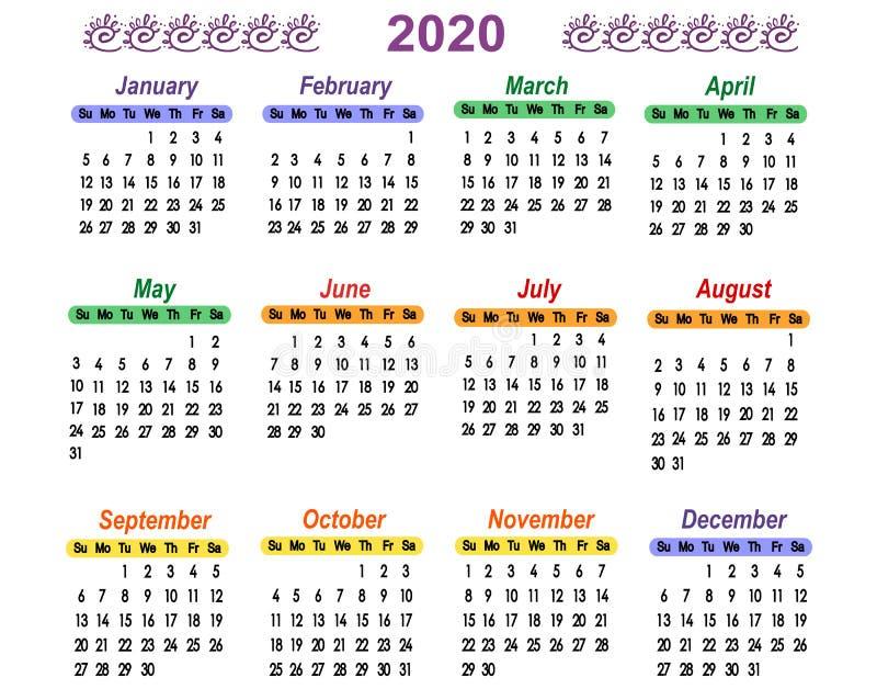 Calendario Numeros Grandes Septiembre 2019.Calendario 2020 Con Numeros Grandes Ilustracion Del Vector