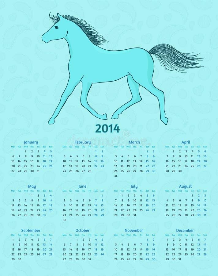 calendario del vector de 2014 años con un caballo azul ilustración del vector