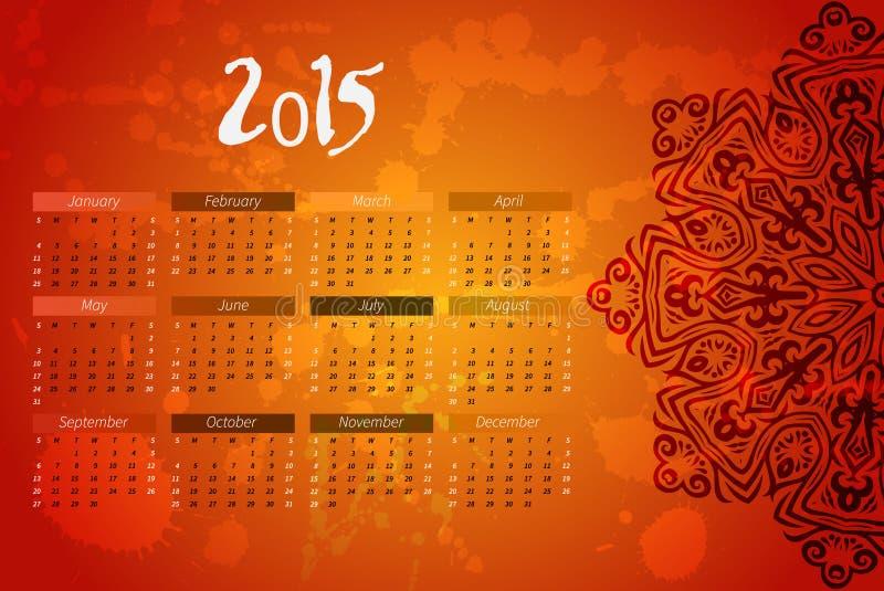 Calendario del vector del año diseño indio de la mandala libre illustration