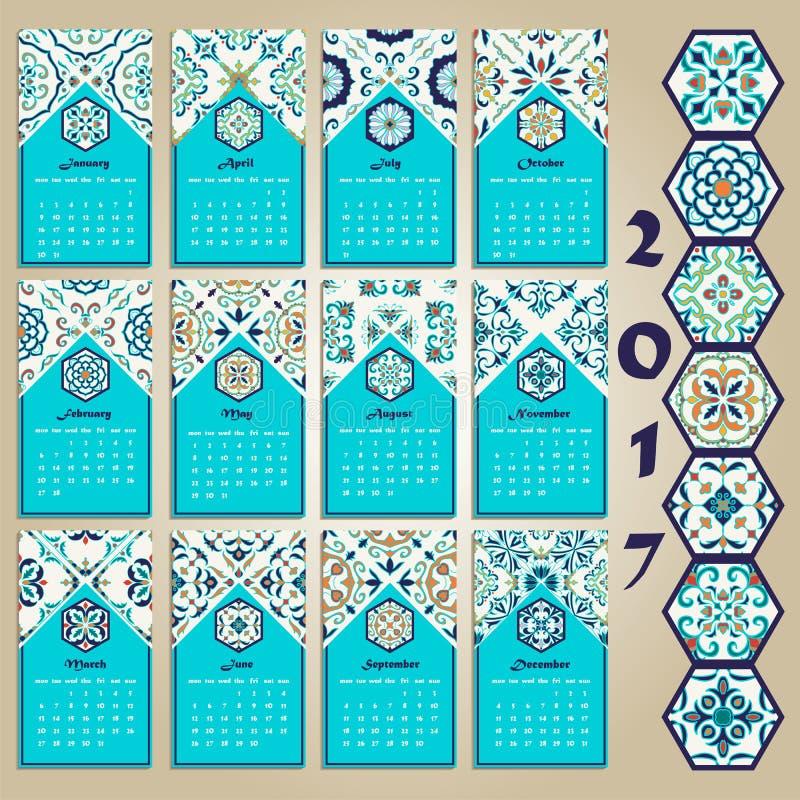 Calendario 2017 del vector Portugués, Azulejo, marroquí stock de ilustración