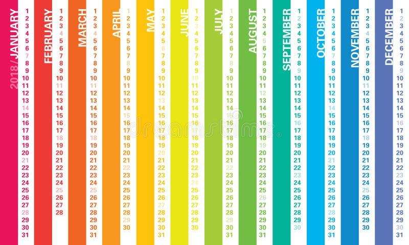 Calendario 2018 dell'arcobaleno royalty illustrazione gratis