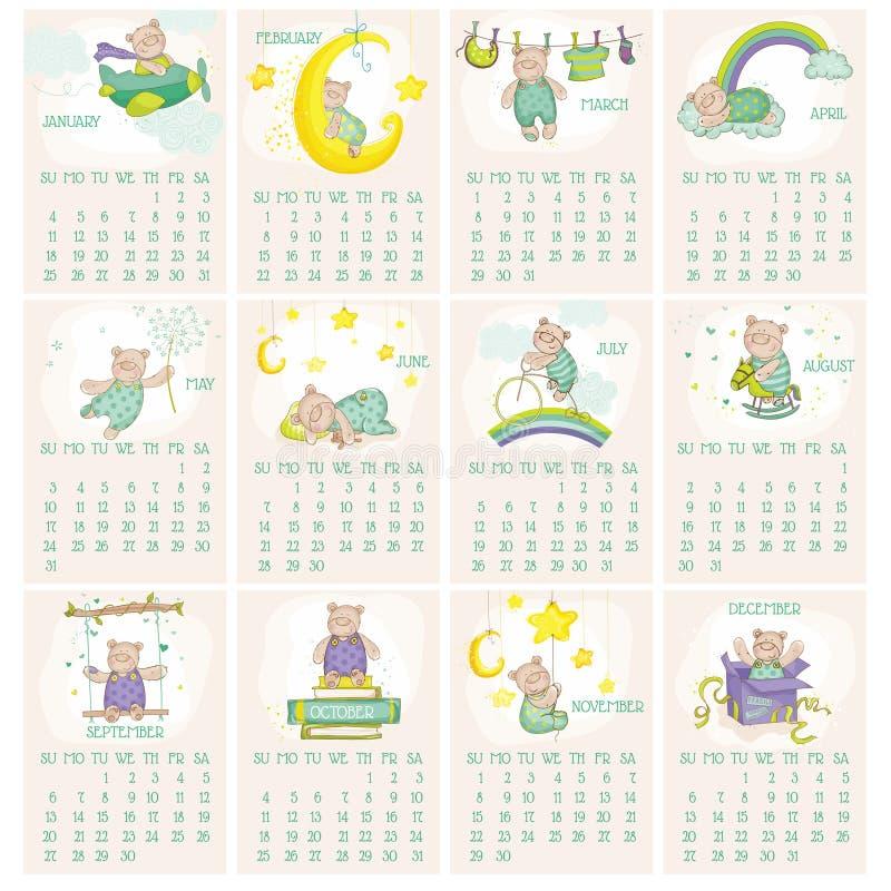 Calendario 2015 dell'orso del bambino illustrazione di stock
