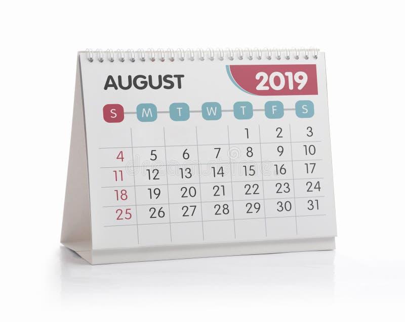 Calendario 2019 dell'ufficio augusto fotografie stock libere da diritti