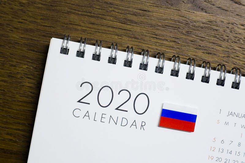 Calendario della bandiera della Russia del 2020 fotografie stock libere da diritti