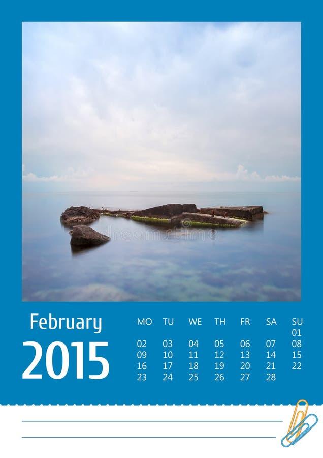 Calendario della foto Print2015 febbraio fotografia stock