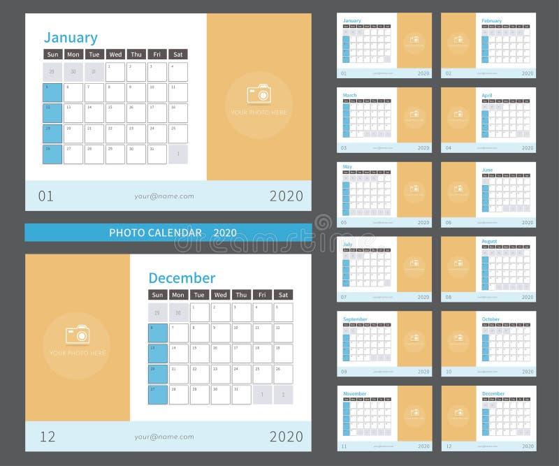Calendario 2020 Settimanale Da Stampare.Calendario 2019 Della Foto Pronto A Stampare Illustrazione