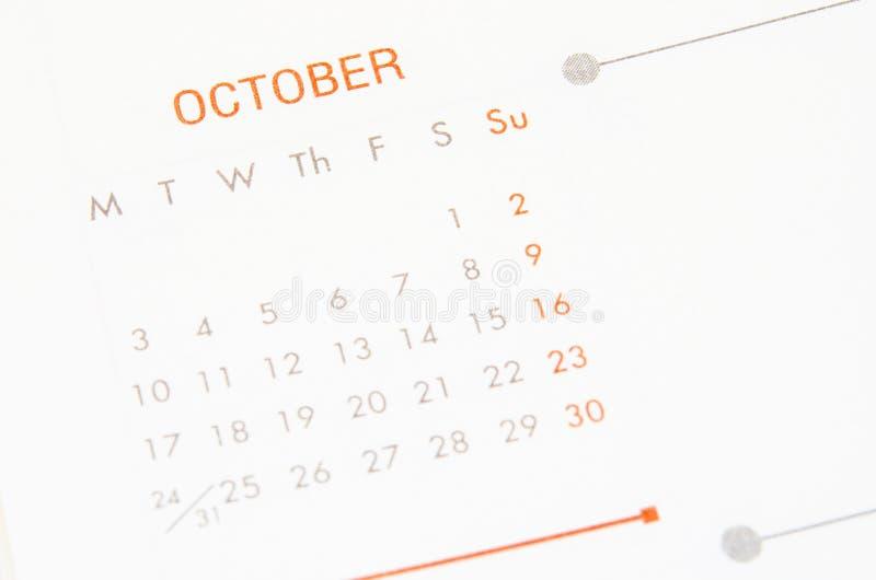 Calendario della pagina di ottobre fotografie stock libere da diritti