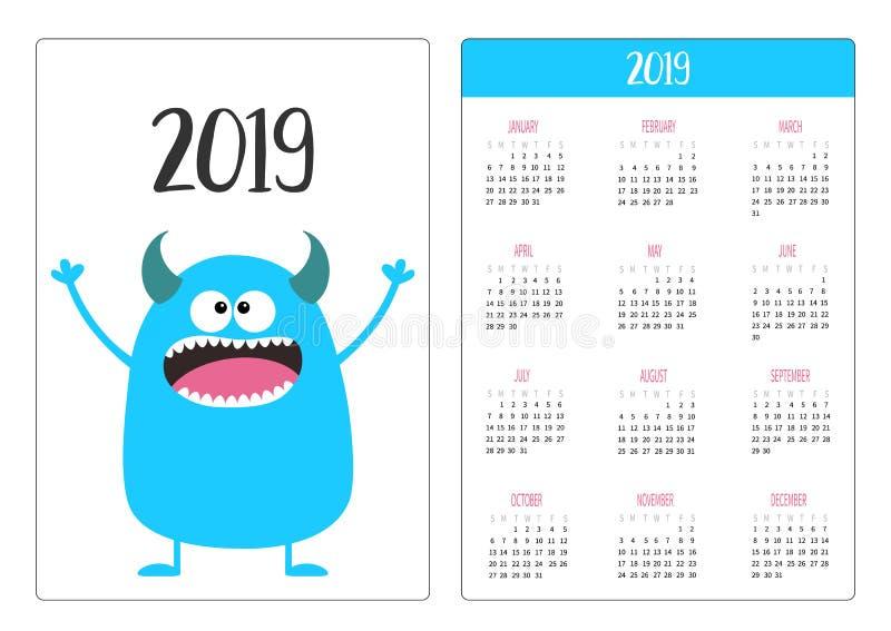 Calendario della tasca 2019 anni La settimana comincia domenica Icona blu del mostro Carattere divertente sveglio del bambino di  illustrazione vettoriale