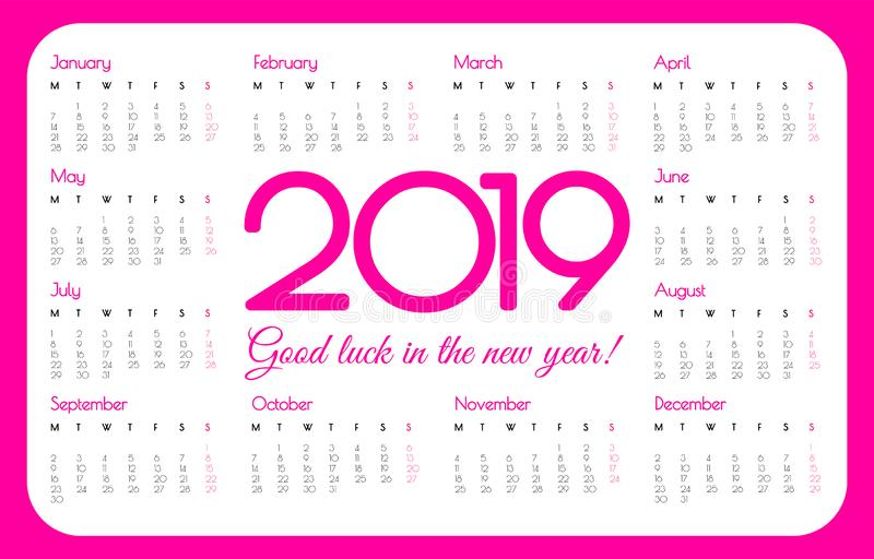 calendario della tasca da 2019 anni Colore rosa, progettazione semplice Inizio di settimana il lunedì Illustrazione di vettore illustrazione di stock