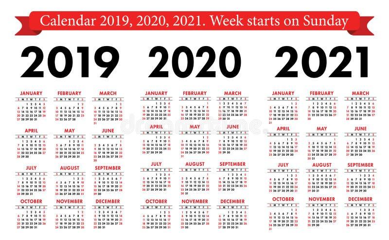 Calendario 2019, 2020, della tasca insieme 2021 Modello semplice di base Inizio di settimana la domenica illustrazione di stock
