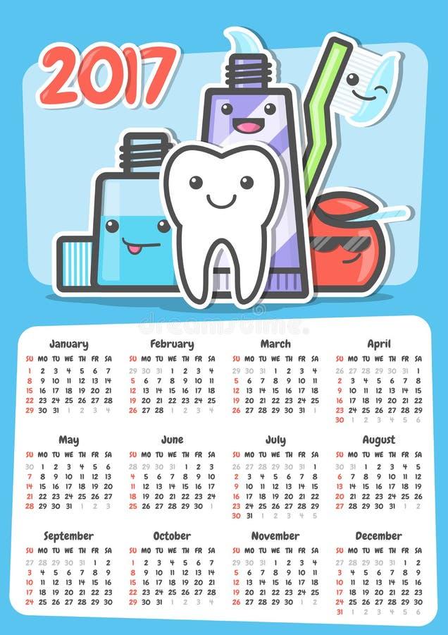 Calendario dental 2017 de la pared ilustración del vector